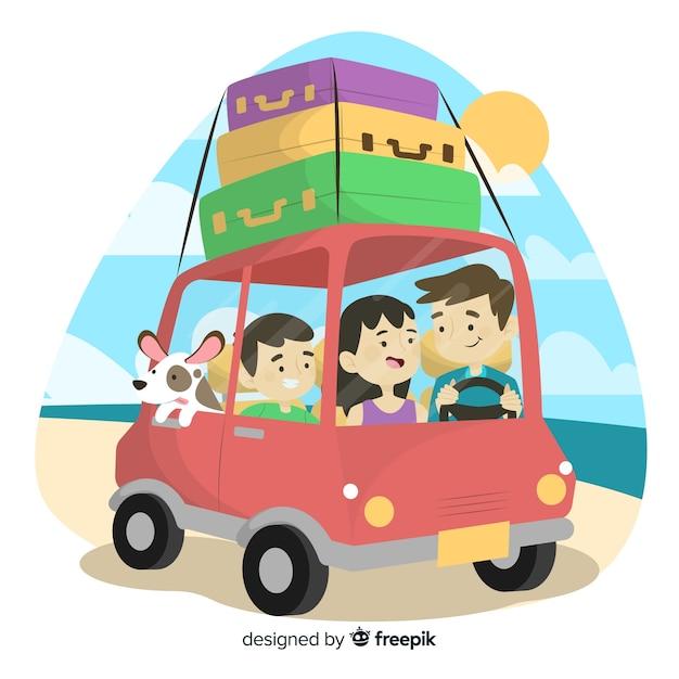 手描き家族の車での旅行 無料ベクター
