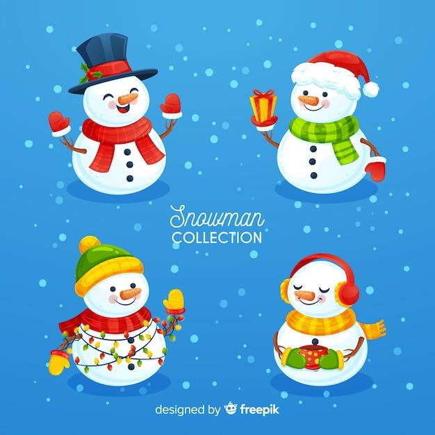 ニースの雪だるまキャラクターセット 無料ベクター