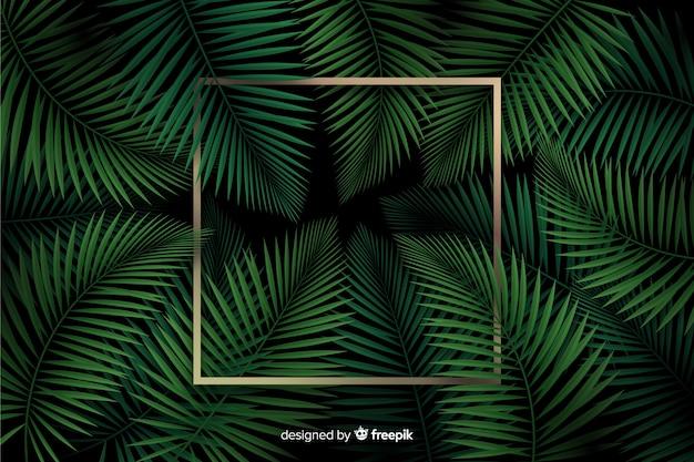 Реалистичные листья с золотой рамкой шаблона Бесплатные векторы