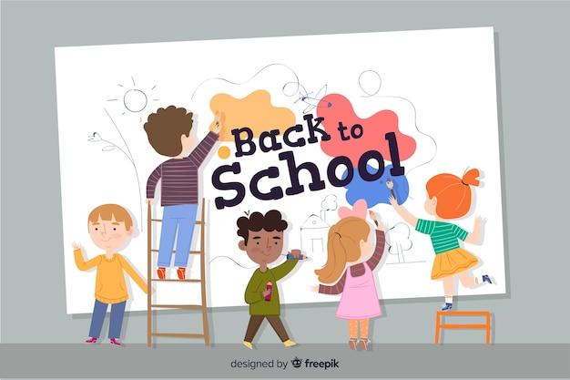 平らな子供たちが学校に戻る 無料ベクター