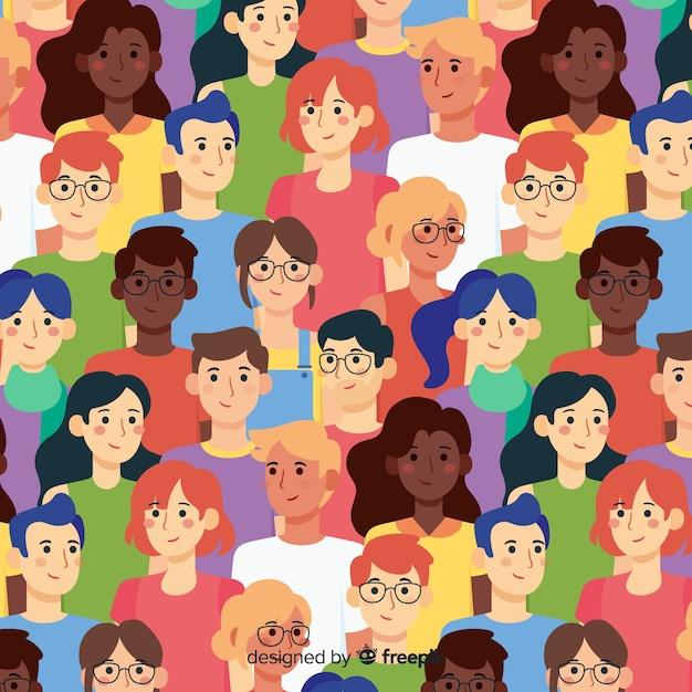 Плоская молодежная картина улыбающихся людей Бесплатные векторы