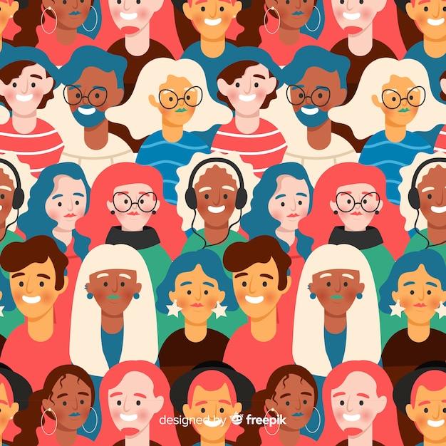 フラット若者の笑顔の人々のパターン 無料ベクター