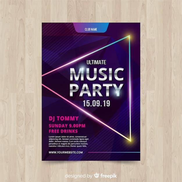 幾何学的図形の音楽パーティーのポスター 無料ベクター