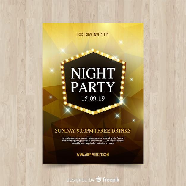 Геометрические фигуры ночной плакат Бесплатные векторы