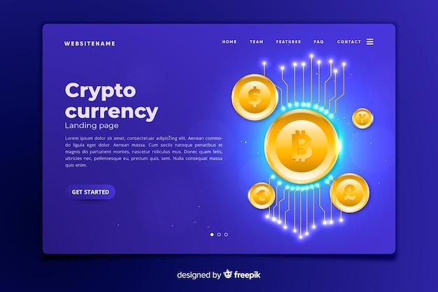 Шаблон целевой страницы криптовалюты Бесплатные векторы