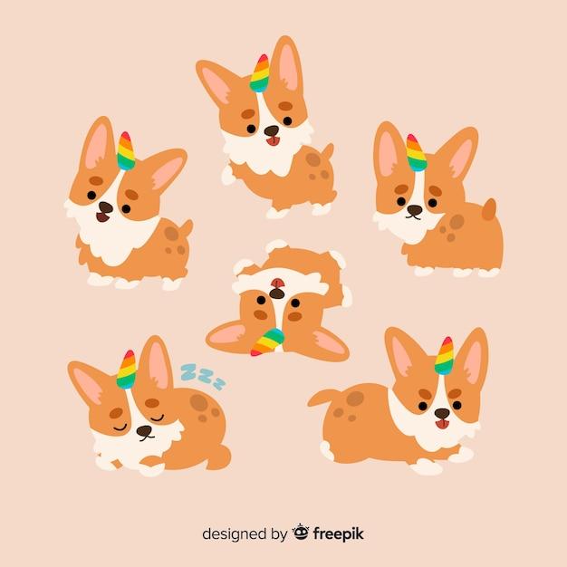 カワイイ犬ユニコーンキャラクターコレクション 無料ベクター