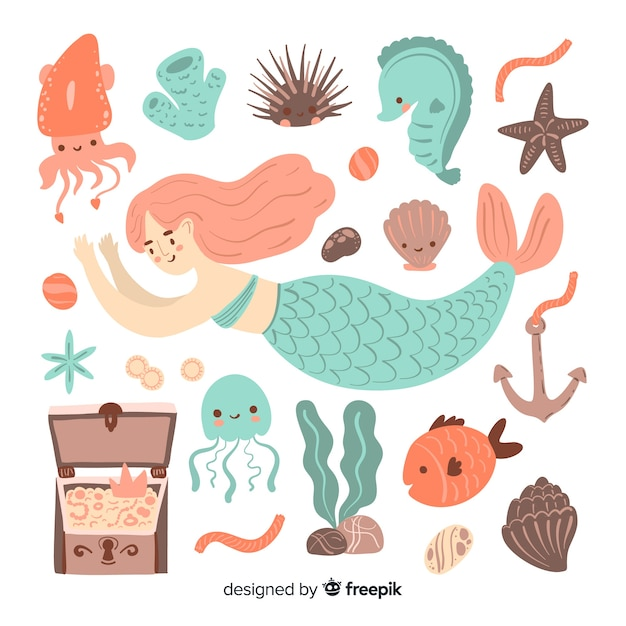 手描きの海洋生物キャラクターコレクション 無料ベクター