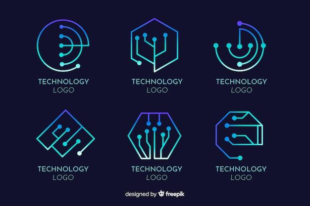 グラデーション技術コンセプトロゴタイプコレクション 無料ベクター