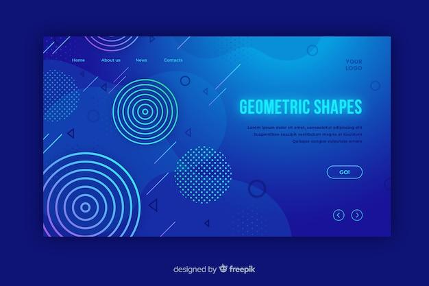 幾何学的グラデーション図形ランディングページ 無料ベクター