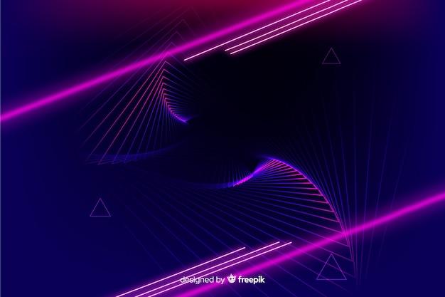 ネオンライト技術の幾何学的な背景 無料ベクター