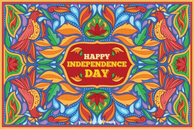 カラフルなインドの独立記念日の背景 無料ベクター