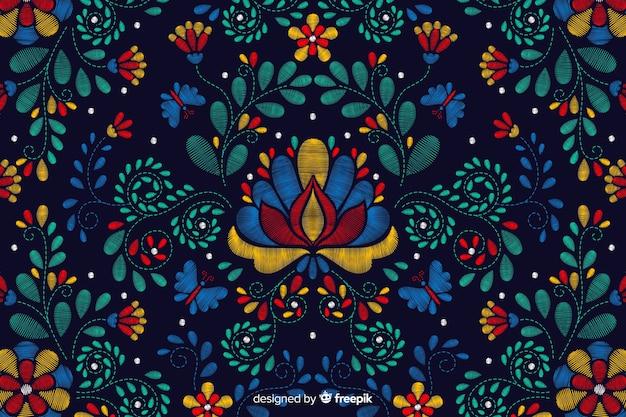 刺繍の伝統的なメキシコの花の背景 無料ベクター