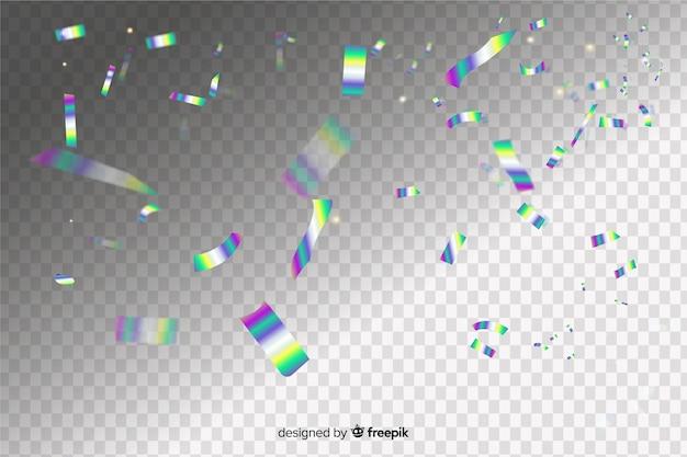 ホログラフィック紙吹雪効果の背景 無料ベクター