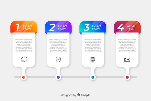 Инфографика шаги коллекции плоский дизайн Бесплатные векторы