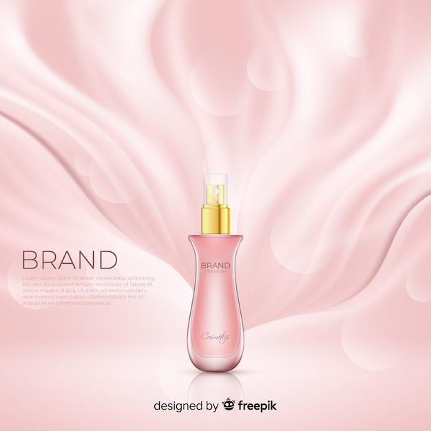 リアルなピンクの化粧品広告ポスター 無料ベクター