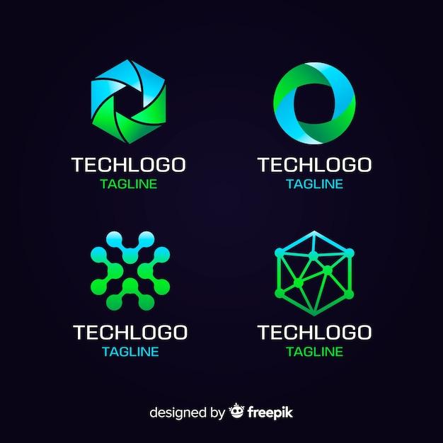 技術ロゴコレクショングラデーションスタイル 無料ベクター