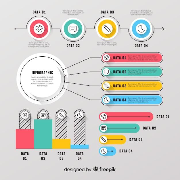 Инфографика элемент коллекции плоский дизайн Бесплатные векторы