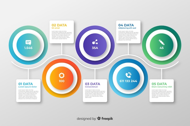 インフォグラフィックステップコレクションフラットデザイン 無料ベクター