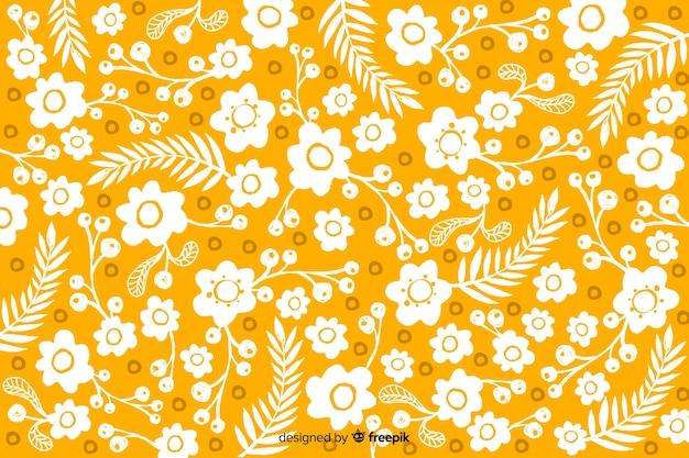 カラフルな手描きの花の背景 無料ベクター