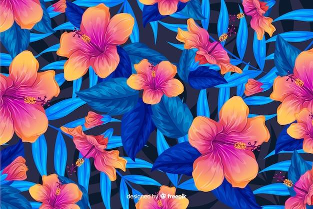 Красочные тропические цветы и листья фон Бесплатные векторы