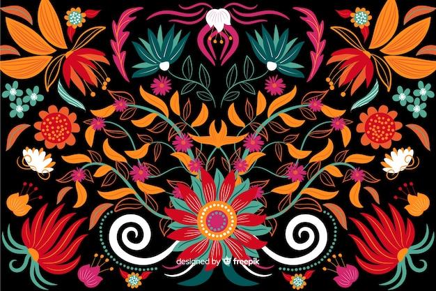 刺繍花の背景フラットデザイン 無料ベクター