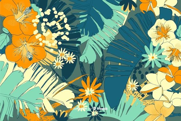 手描きのカラフルな花の背景 無料ベクター