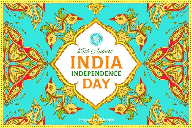 装飾的なインドの独立記念日の背景 無料ベクター
