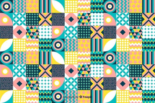 Красочный старинный геометрический фон мозаики Бесплатные векторы