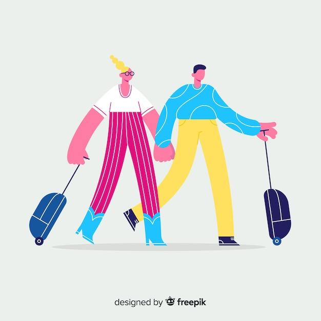 カップル旅行手描きスタイル 無料ベクター