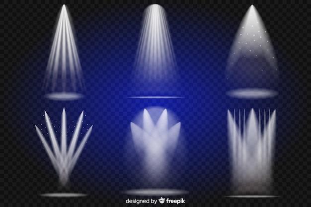 Коллекция реалистичного освещения сцены Бесплатные векторы