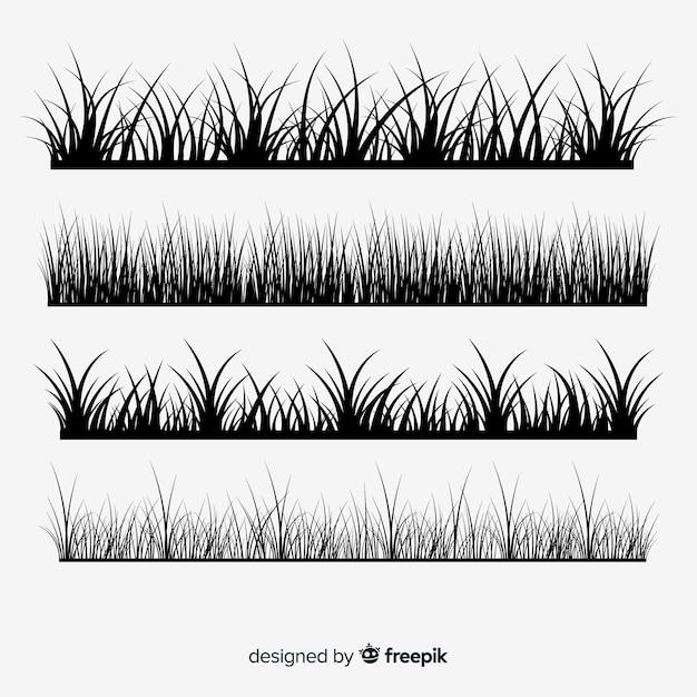 Коллекция трав границы бордюров Бесплатные векторы