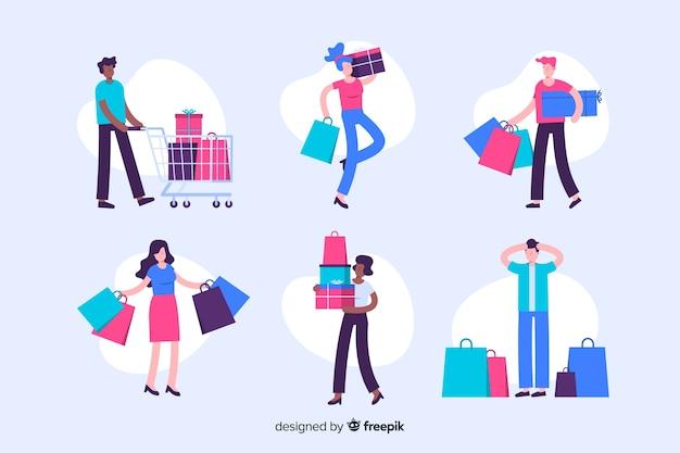 買い物袋のコレクションを運ぶ人々 無料ベクター