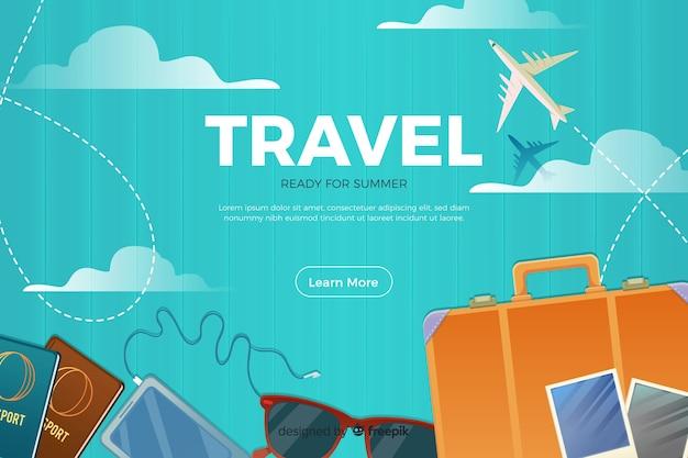 Шаблон целевой страницы плоского путешествия Бесплатные векторы