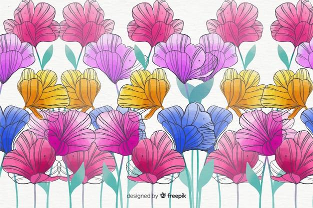 カラフルな水彩風の花の背景 無料ベクター