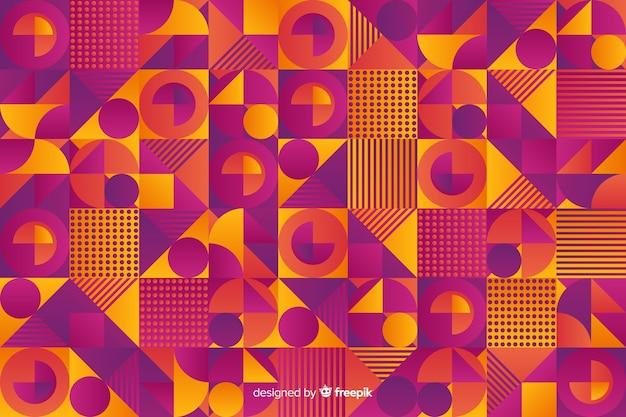カラフルなグラデーションの幾何学的なモザイクの背景 無料ベクター