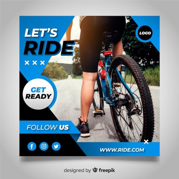 写真とサイクリング選手バナー 無料ベクター