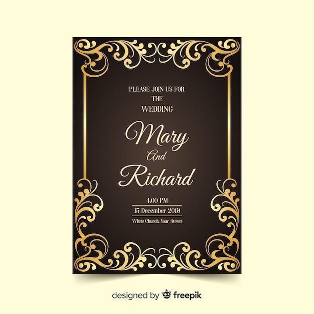 豪華なエレガントな結婚式の招待状のテンプレート 無料ベクター