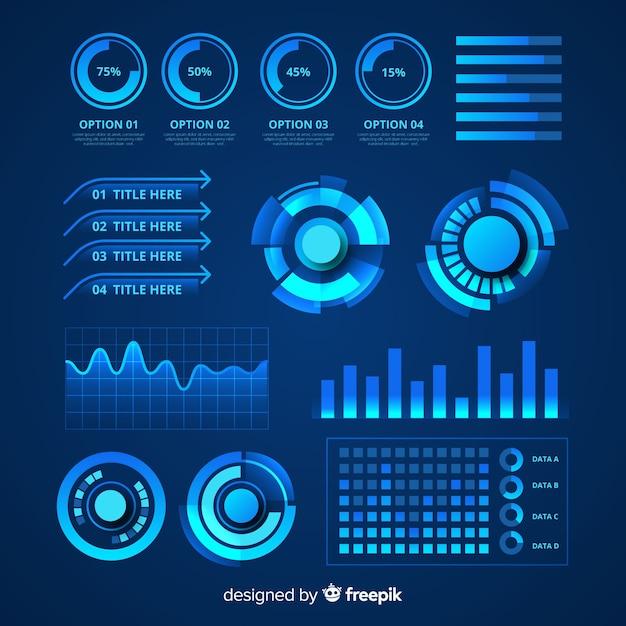 Футуристический инфографики набор элементов Бесплатные векторы