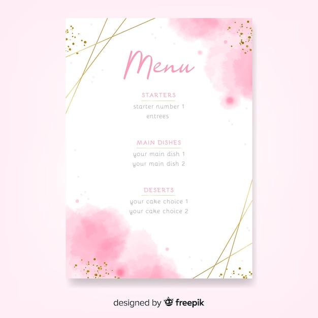 Шаблон меню акварель свадьба с рамкой Бесплатные векторы