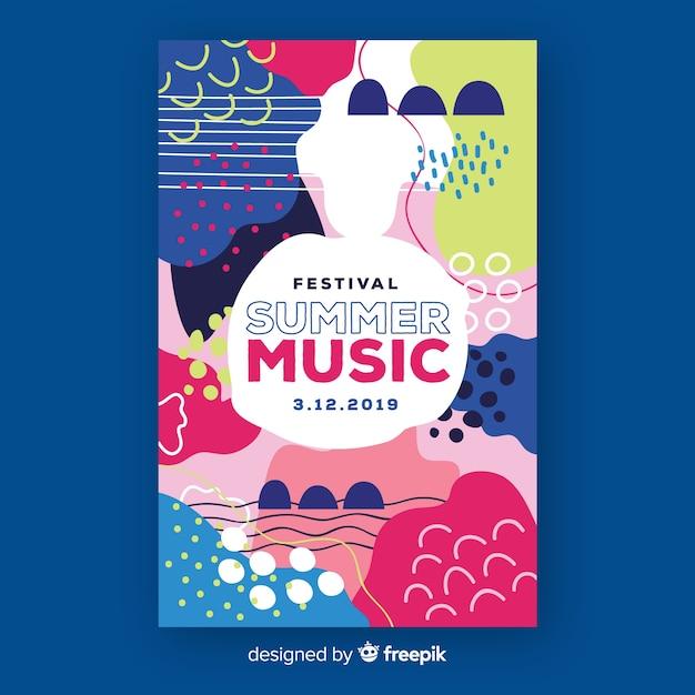 抽象的な手描き音楽祭ポスター 無料ベクター