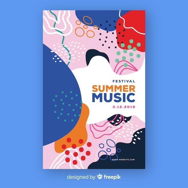 抽象的な手描きの夏の音楽ポスター 無料ベクター