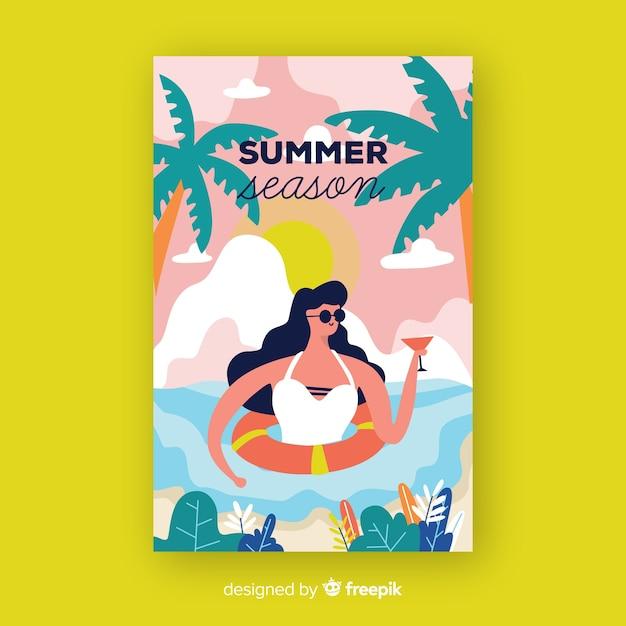 手描き夏シーズンポスター 無料ベクター