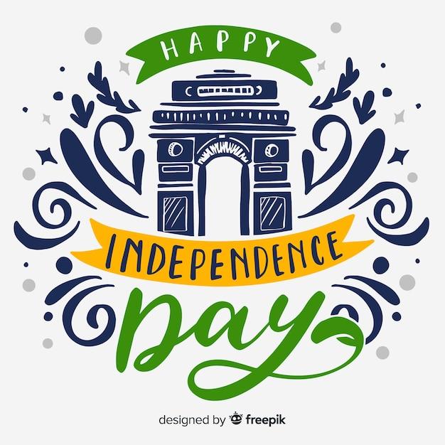 手描きインド独立記念日の背景 無料ベクター