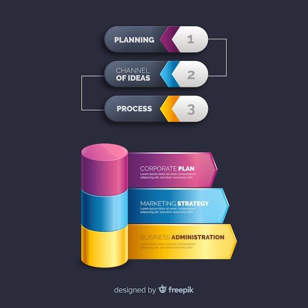 現実的なプラスチック製のインフォグラフィック要素のコレクション 無料ベクター
