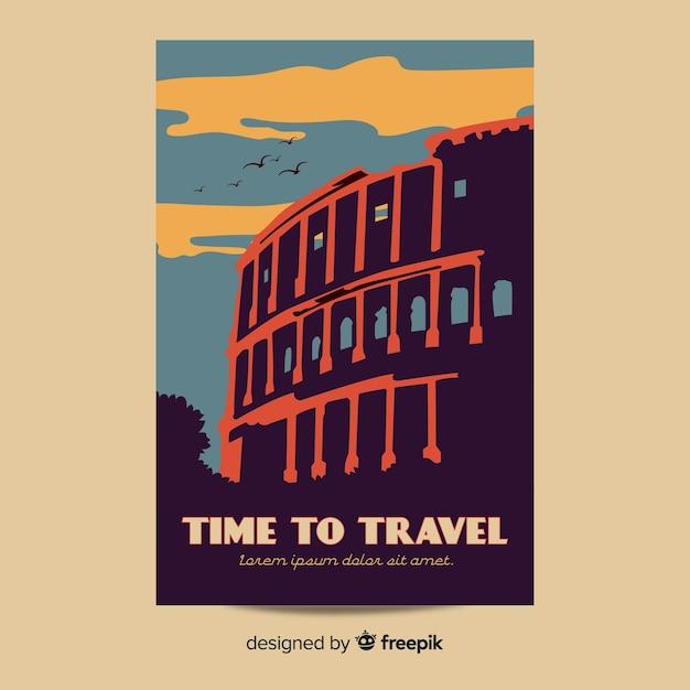Плоский дизайн винтажный туристический плакат Бесплатные векторы