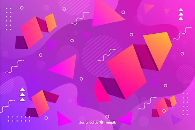 幾何学的図形とグラデーションの背景 無料ベクター