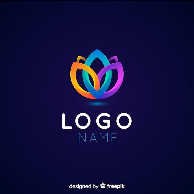 抽象的な形とグラデーションのロゴのテンプレート 無料ベクター