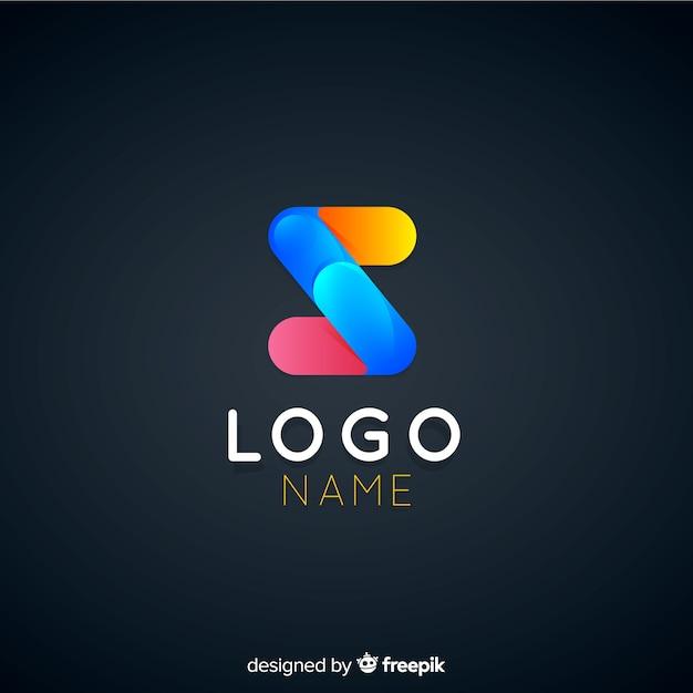 企業のグラデーション技術のロゴのテンプレート 無料ベクター