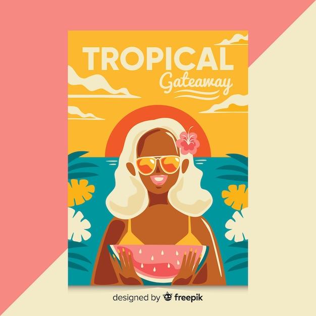 女の子と平らなビンテージ旅行のポスター 無料ベクター