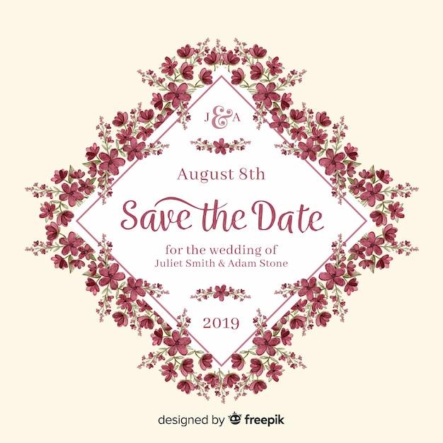 Цветочные свадебные приглашения акварель шаблон Бесплатные векторы